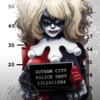 Harley Quinn Mugshot Art Based on Cosplay Photo of Ryoko-Demon