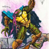 Kirby the Fifth Ninja Turtle by Kevin Eastman - tmnt 4 concept art