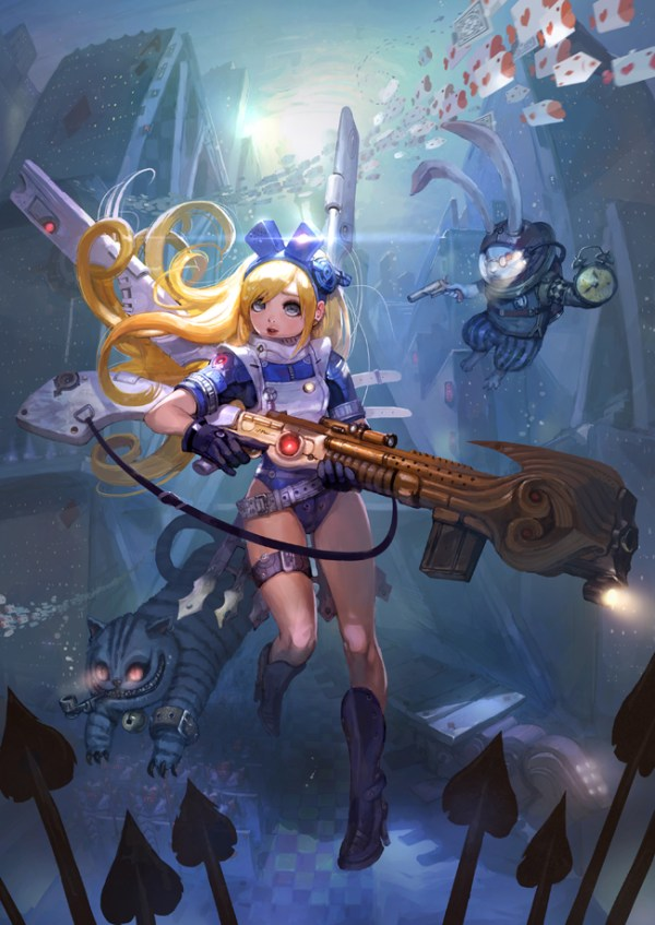 Cyberpunk Alice in Wonderland Illustration by Park Insu - sci-fi, underwater, alternative