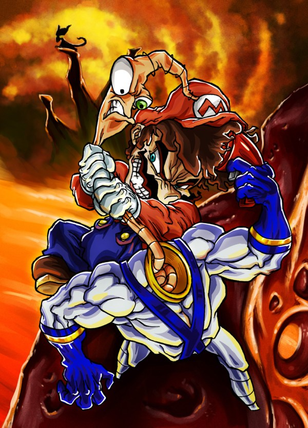 Mario vs Earthworm Jim by Sebastian von Buchwald