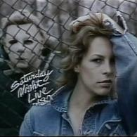 Jamie Lee Curtis stalked by Michael Myers Saturday Night Live 1980 Bumper Photo