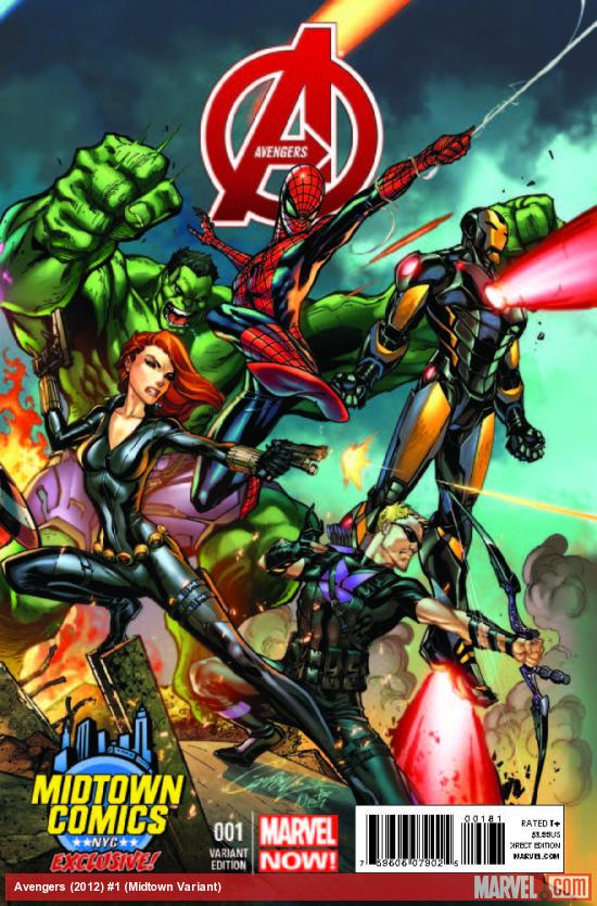 Avengers 1 Midtown Exclusive J Scott Campbell Connecting Variant Cover Part 3 of 3