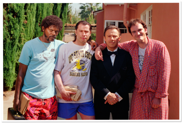 Samuel L. Jackson, John Travolta, Harvey Keitel and Quentin Tarantino Posing Together on the Set of Pulp Fiction