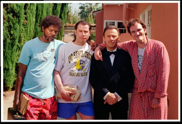 Samuel L. Jackson, John Travolta, Harvey Keitel and Quentin Tarantino Posing Together on the Set of Pulp Fiction