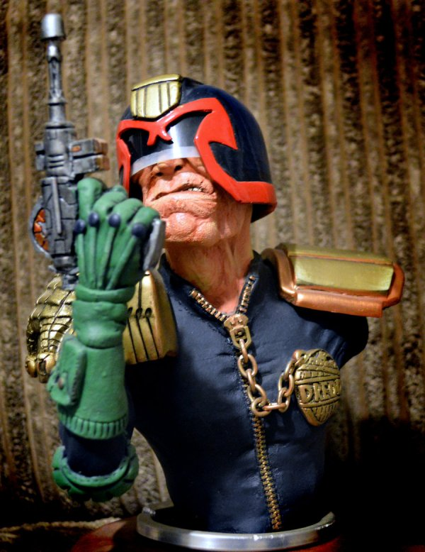 Judge Dredd sculpture by Micky Betts