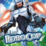 RoboCop flying with a jetpack in front of a rainbow - bootleg video game cover
