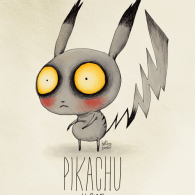 Pikachu - Tim Burton Inspired Pokémon Re-Designs by Vaughn Pinpin