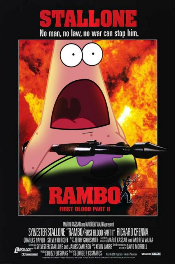 Surprised patrick x rambo poster spongebob squarepants patrick star