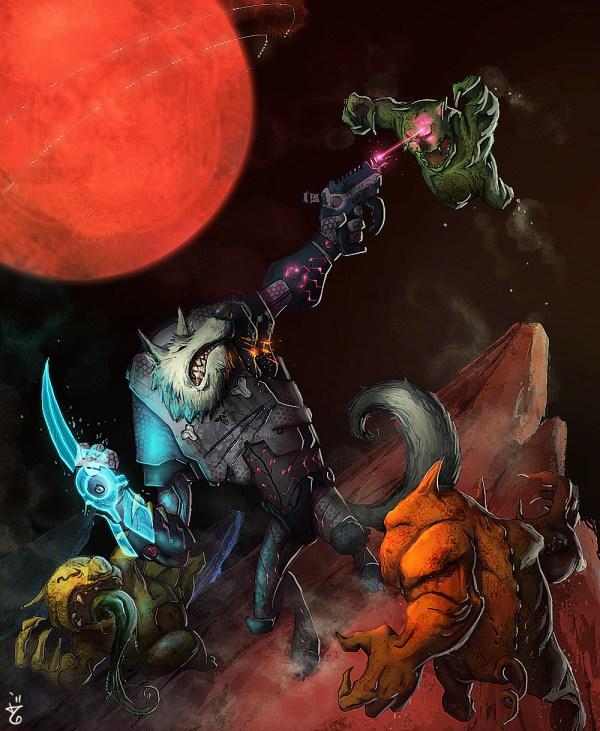 Three Little Pigs by Zulkarnaen Hasan Basri - Big Bad Wolf in Space - Reimagined Fairy Tale Illustrations