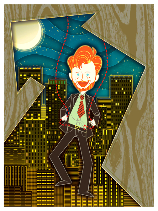 Conan O'Brien with Strings Attached Poster by Kevin Tong