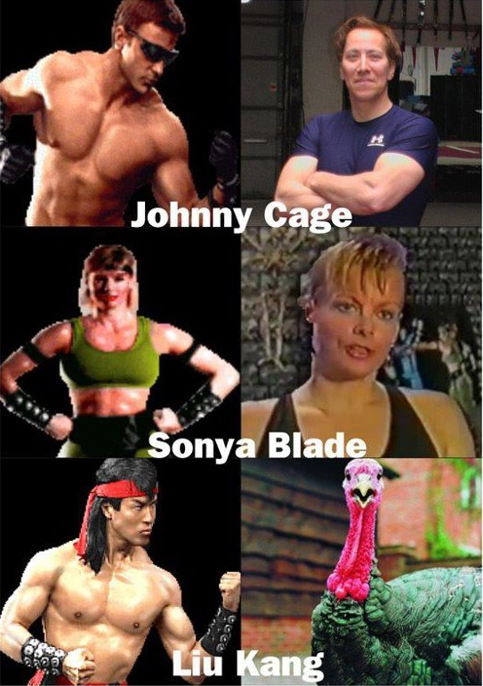 Mortal Kombat Characters and their Voice Actors - Liu Kang Bicycle Kick sounds like a Turkey