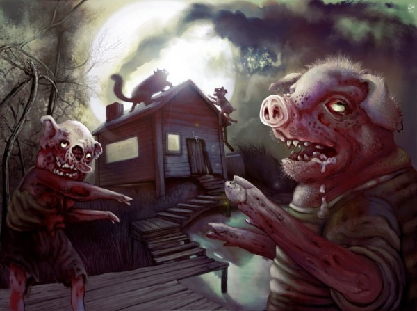 The Three Little Zombie Pigs - Reimagined Fairy Tale Illustrations