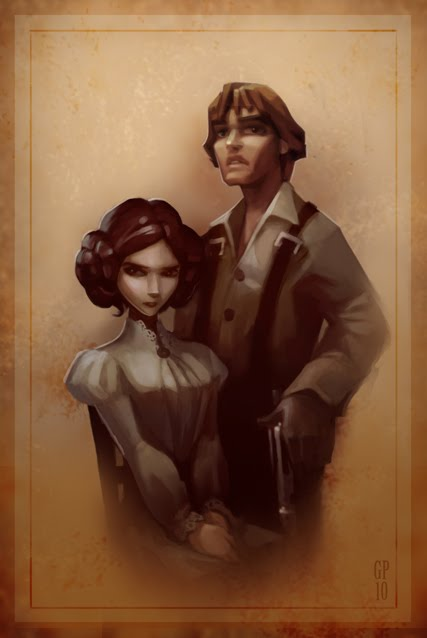 Civil War Skywalker Famiy Portrait by Greg Peltz - Luke and Leia