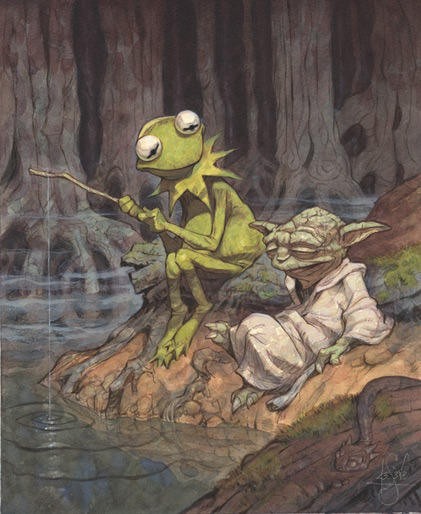 Easy Being Green It Is Not by Peter De Seve - yoda and kermit - star wars art