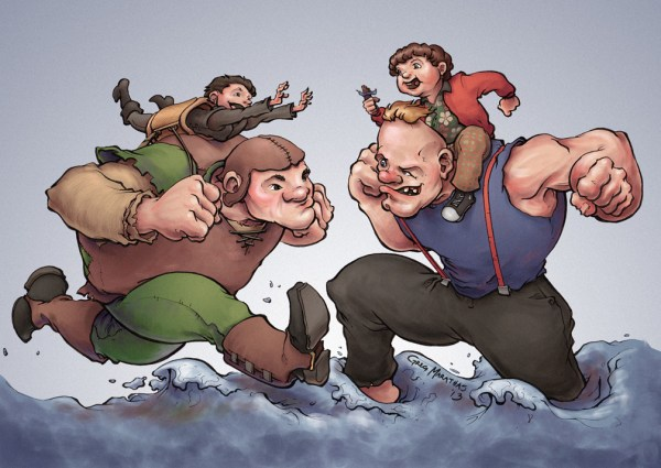 Hodor and Bran vs. Sloth and Chunk - Game of Thrones x Goonies Mashup Art