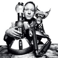 Photo of Joel Hodgson with Tom Servo and Crow from Mystery Science Theater 3000 by Platon