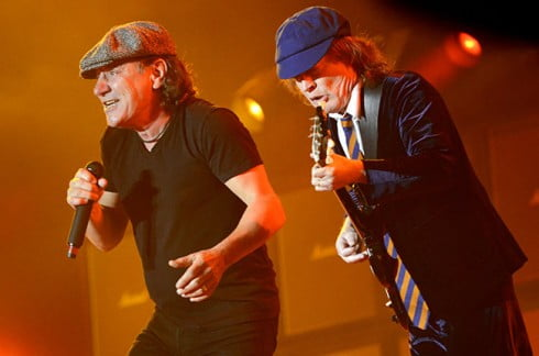 INDIO, CA - APRIL 17:  Brian Johnson (L) and Angus Young of AC/DC perform during the 2015 Coachella Valley Music And Arts Festival at The Empire Polo Club on April 17, 2015 in Indio, California.  (Photo by Tim Mosenfelder/WireImage)