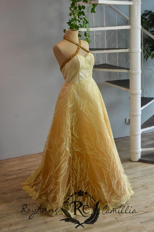 yellow rental gown by royanne camillia the best gowns in manila Philippines