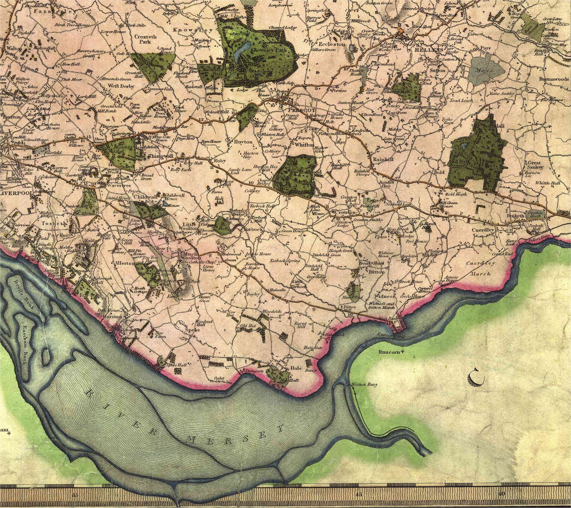 Halewood Parish History Website   Halewood Maps Greenwood s Map of Lancashire 1818