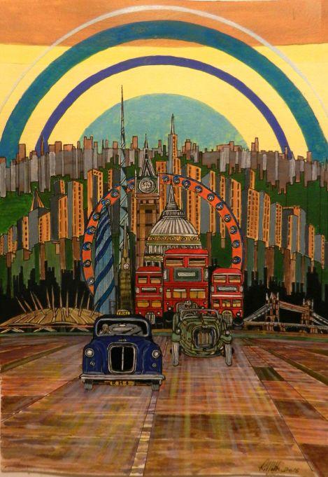 London Icons. Acrylic painting, black cab, london,routemaster, london eye, big ben,