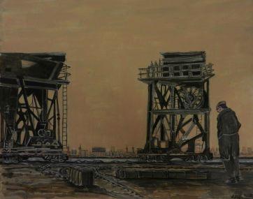 Dagenham Docks, Mixed media, cranes,