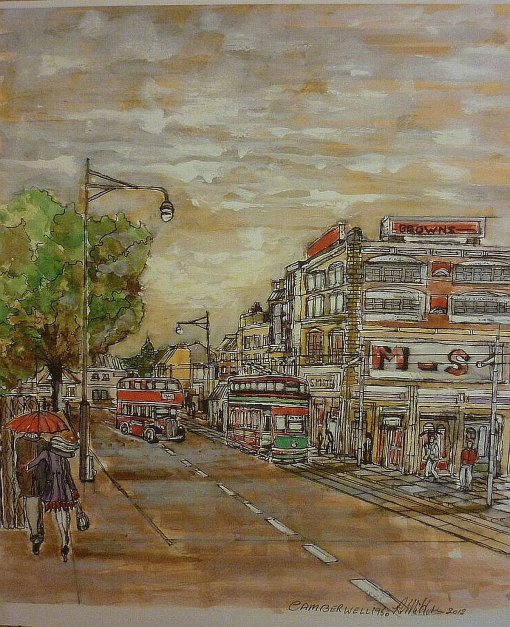 Camberwell Tram, Mixed media camberwell,london,