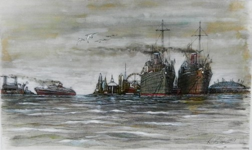 Ships on the Thames, Watercolour, london,