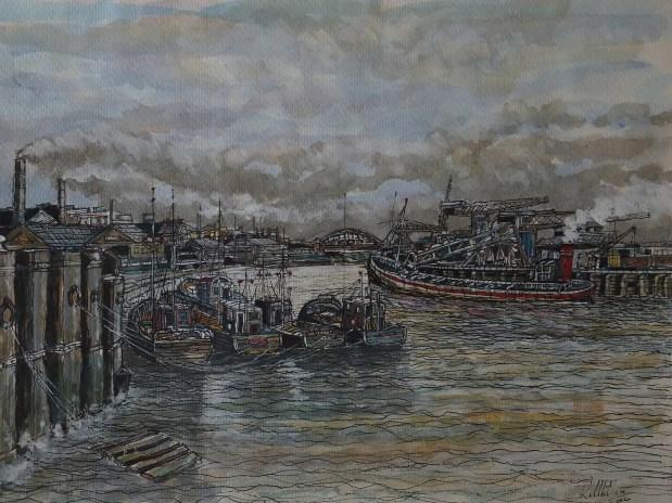 Gateshead Millennium Bridge, Newcastle, Mixed media painting,river tyne,