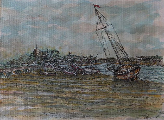 hastings, all saints church, watercolour, yacht,