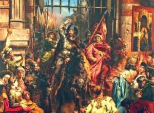 Bolesław Chrobry (na obrazie Jana Matejki) wjeżdżający triumfalnie do Kijowa