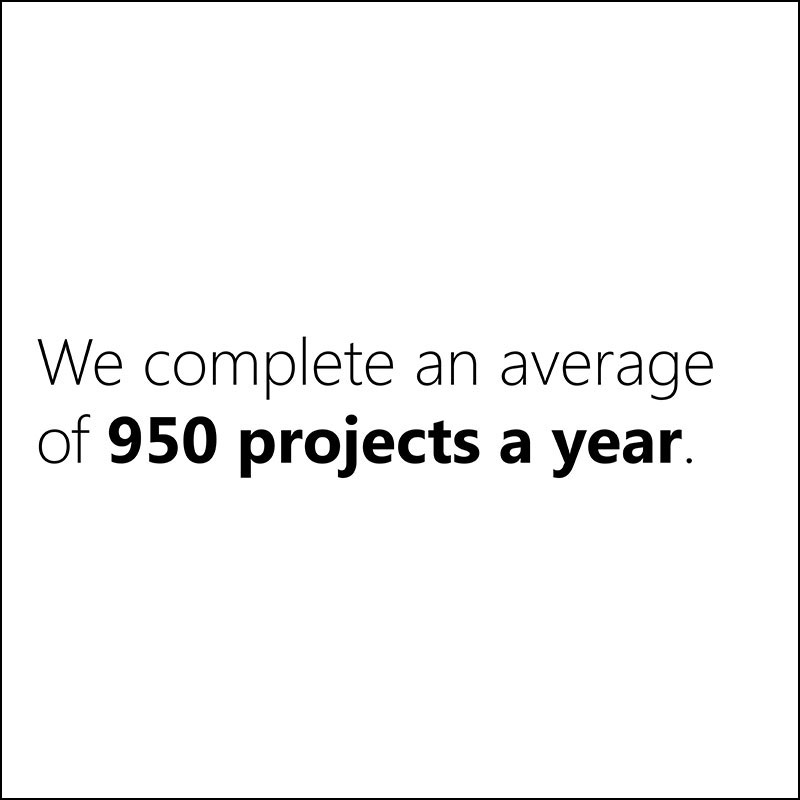 We complete an average of 950 projects a year.