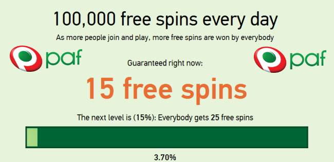 100,000 free spins every day in PAF Casino