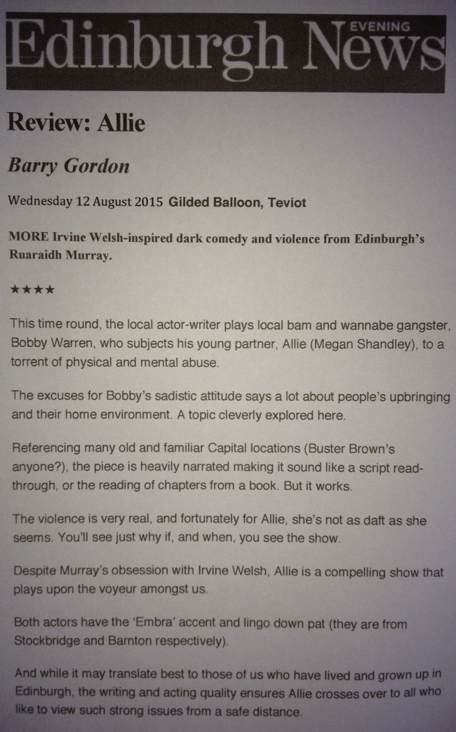 ALLIE REVIEW BARRY GORDON EDINBURGH EVENING NEWS