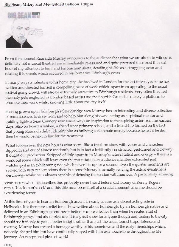 Big Sean, Mikey and Me Edinburgh Festival 2012 Quotidain Times online review