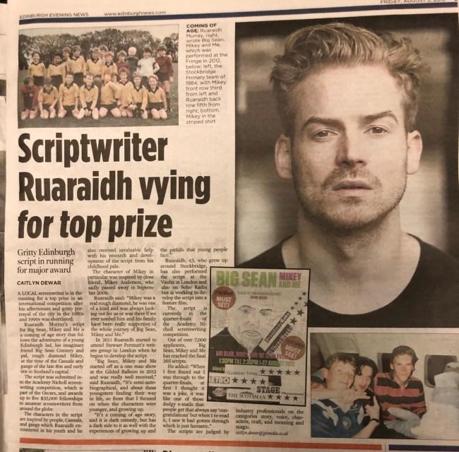 Ruaraidh Murray Academy Nicholls Fellowship Edinburgh Evening News