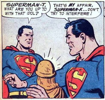 Uh...maybe lock the bathroom door next time, Superman-T.