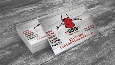 Steady Smokin' BBQ business card design