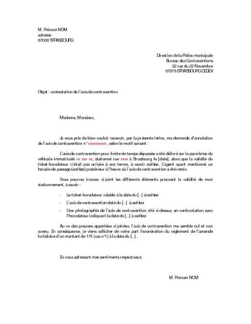Modèle de lettre de contestation