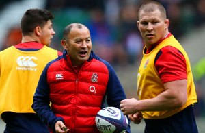 Eddie Jones at training with Dylan Hartley