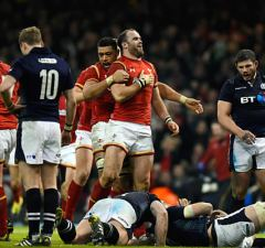 Jamie Roberts celebrates a try for Wales
