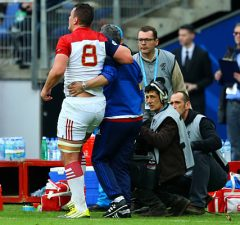 Louis Picamoles limps off the field against Italy