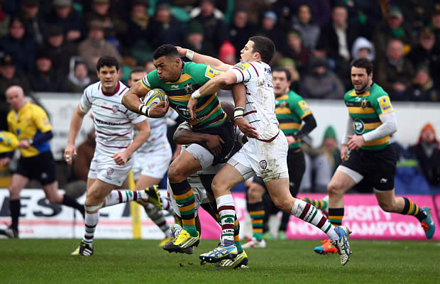 Luther Burrell powers forward against the Exiles