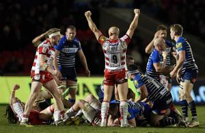 Willi Heinz celebrates victory for Gloucester