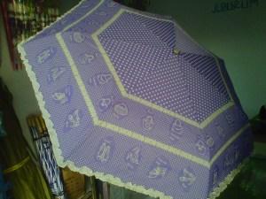 payung polkadot baby doll ungu