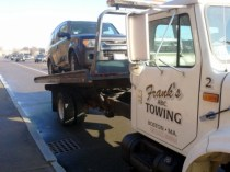 Photo of t-boned toaster on Frank's Towing truck going to Glenville Terrace Auto Body