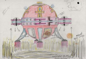 "Sketch of a ""spaceship"" creating crop circles, sent to UK Ministry of Defence circa 1998."