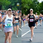 Karla at the NYRR New York Mini 10K (left) and the NYRR Team Championships (Right).