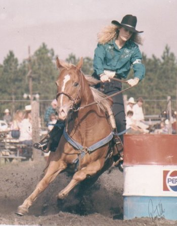 Laura barrel racing in a rodeo when she was 18-years-old.