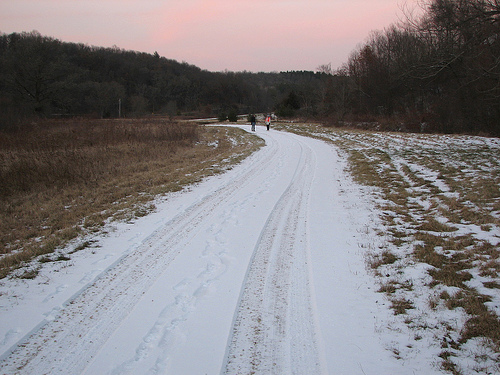 Winter walkers at dusk