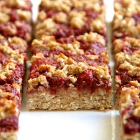 . strawberry banana oat bars .